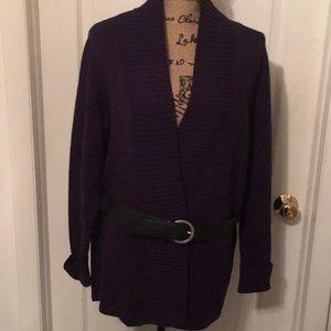 🍁EUC Susan Bristol Purple Cardigan Merino Wool 1X